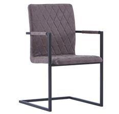 Chaise avec accoudoirs simili cuir marron foncé et pieds métal noir Canti - Lot de 2