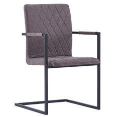 Chaise avec accoudoirs simili cuir marron foncé et pieds métal noir Canti - Lot de 4