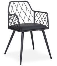 Chaise avec accoudoirs similicuir noir et pieds métal Stefa