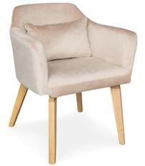 Chaise avec accoudoirs velours beige et pieds bois clair Biggie