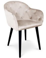 Chaise avec accoudoirs velours beige Honor