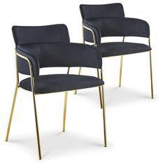 Chaise avec accoudoirs velours noir et pieds métal doré Alexi - Lot de 2