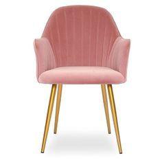 Chaise avec accoudoirs velours rose et métal doré Lucy