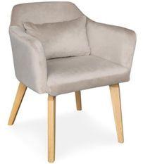 Chaise avec accoudoirs velours taupe et pieds bois clair Biggie
