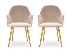 Chaise avec accoudoirs velours taupe et pieds métal doré Lucy - Lot de 2