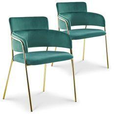 Chaise avec accoudoirs velours vert et pieds métal doré Alexi - Lot de 2