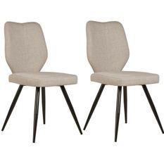 Chaise tissu lin beige et pieds métal noir Chika - Lot de 2