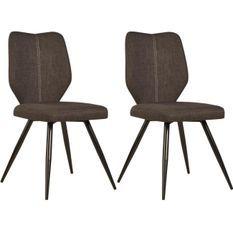 Chaise tissu marron et pieds métal noir Chika - Lot de 2