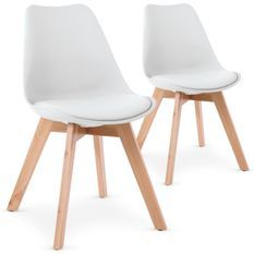 Chaise blanche style scandinave Orna - Lot de 2