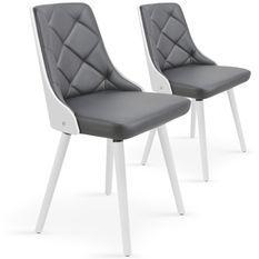 Chaise bois blanc et assise simili gris Pako - Lot de 2
