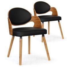 Chaise bois chêne clair et simili noir Sofa - Lot de 2