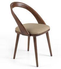 Chaise bois de frêne noyer et tissu Lazy - Lot de 2