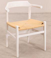 Chaise bois de hêtre blanc et corde tressée Payia