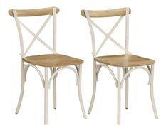 Chaise bois de manguier massif et acier blanc Tiphen - Lot de 2