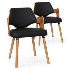 Chaise bois naturel et simili noir Diva - Lot de 2