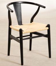 Chaise bois noir massif d'orme et corde naturelle Payia