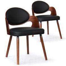 Chaise bois noisette et simili noir Sofa - Lot de 2