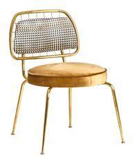 Chaise art déco métal doré et assise tissu moutarde Bari - Lot de 2