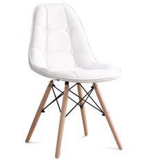 Chaise capitonnée simili cuir blanc et pieds hêtre clair Pento