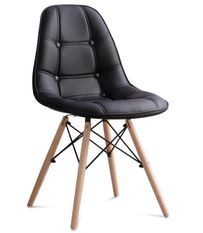 Chaise capitonnée simili cuir noir et pieds hêtre clair Pento