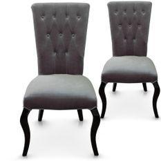 Chaise capitonnée velours gris Barocco - Lot de 2