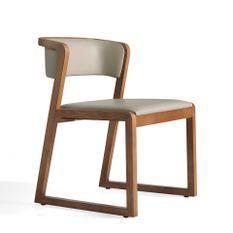 Chaise contemporaine bois noyer et cuir Mena - Lot de 2