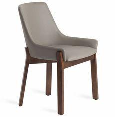 Chaise contemporaine bois noyer et simili cuir Sylva - Lot de 2