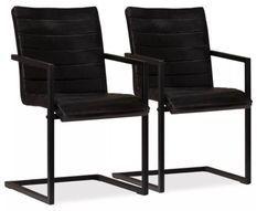 Chaise cuir anthracite métal noir Kandyas - Lot de 2