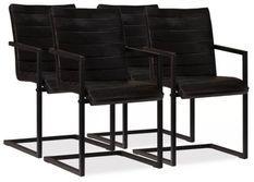 Chaise cuir anthracite métal noir Kandyas - Lot de 4