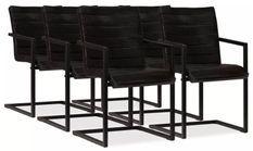 Chaise cuir anthracite métal noir Kandyas - Lot de 6