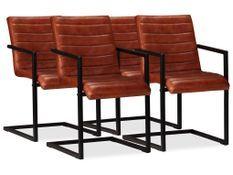 Chaise cuir marron et pieds métal noir Kandyas - Lot de 4