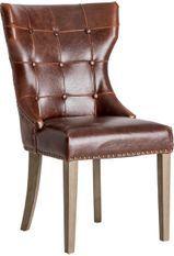 Chaise cuir marron et pieds pin massif clair Trya - Lot de 2