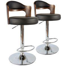 Chaise de bar Bois Noisette et Noir Buli - Lot de 2