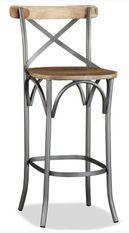 Chaise de bar manguier massif et métal gris Tiphen