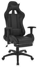 Chaise de bureau avec accoudoirs et repose pieds similicuir noir Fergia