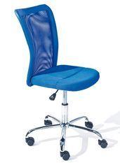 Chaise de bureau bleu et pieds métal chromé Kelly