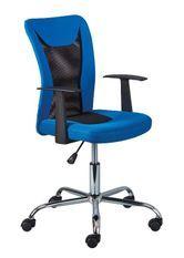 Chaise de bureau réglable simili cuir noir et bleu Roll
