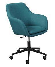 Chaise de bureau réglable tissu bleu pétrole Zenit