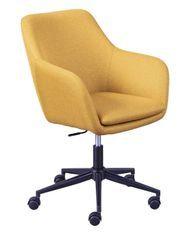Chaise de bureau réglable tissu jaune Zenit