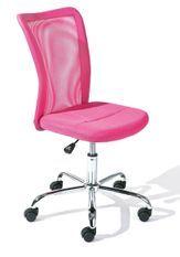 Chaise de bureau rose et pieds métal chromé Kelly