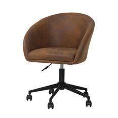 Chaise de bureau - Tissu marron - Métal - L 62 x P 62 x H 88 cm - HECTOR