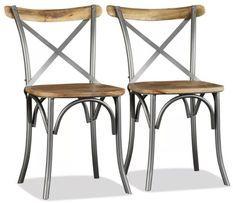 Chaise de cuisine bois vintage massif clair et métal gris Tiphen - Lot de 2