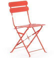 Chaise de jardin acier rouge mate Dola