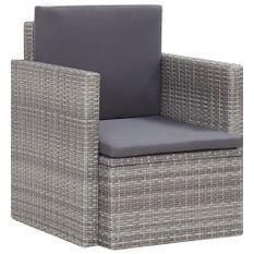 Chaise de jardin avec coussins Résine tressée Gris