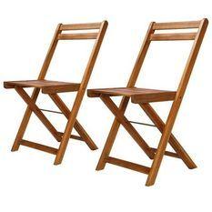 Chaise de jardin pliable acacia massif foncé Sikash - Lot de 2