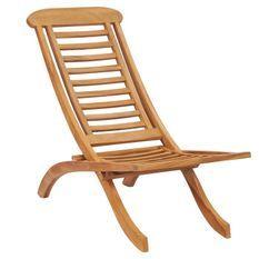 Chaise de jardin pliante teck massif clair Isser