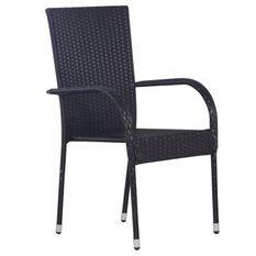 Chaise de jardin résine tressée noire Daget - Lot de 2