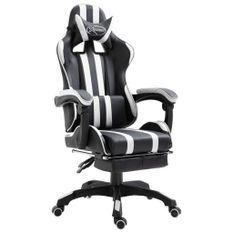 Chaise de jeu avec repose-pied Blanc Similicuir