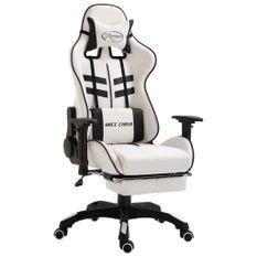 Chaise de jeu avec repose-pied Noir Similicuir