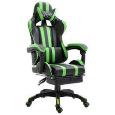 Chaise de jeu avec repose-pied Vert Similicuir